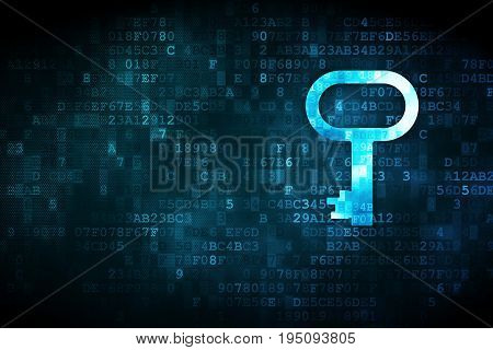 Security concept: pixelated Key icon on digital background, empty copyspace for card, text, advertising