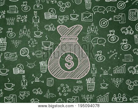 Business concept: Chalk Pink Money Bag icon on School board background with  Hand Drawn Business Icons, School Board