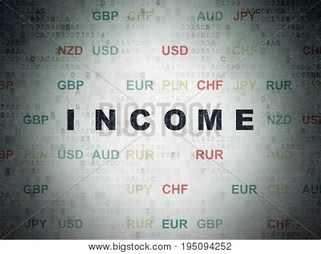 Finance concept: Painted black text Income on Digital Data Paper background with Currency