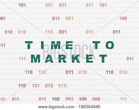 Time concept: Painted green text Time to Market on White Brick wall background with Binary Code