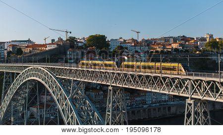 View of Dom Luis I bridge in Porto, Portugal.