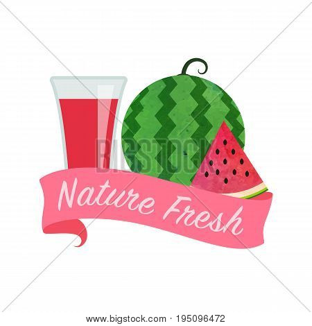 Colorful Watercolor Texture Vector Nature Organic Fresh Fruit Juice Banner Red Water Melon