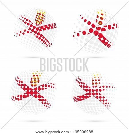 Jersey Halftone Flag Set Patriotic Vector Design. 3D Halftone Sphere In Jersey National Flag Colors