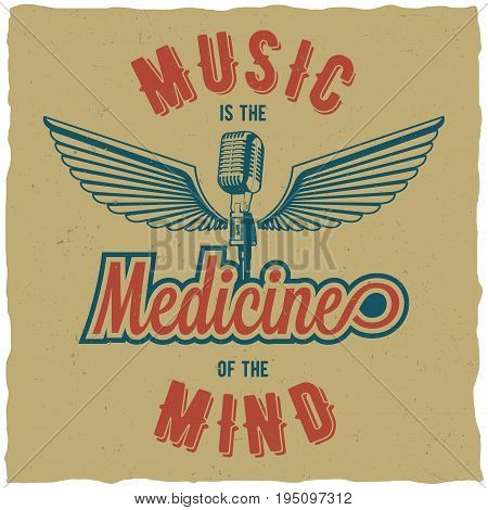 Creative three colored poster with words music is the medicine of the mind vector illustration