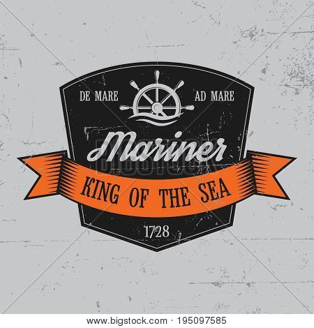Mariner Label Poster with words king of the sea and one helm vector illustration