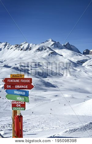 Landscape and ski resort in French Alps,Tignes, Le Clavet, Tarentaise, France