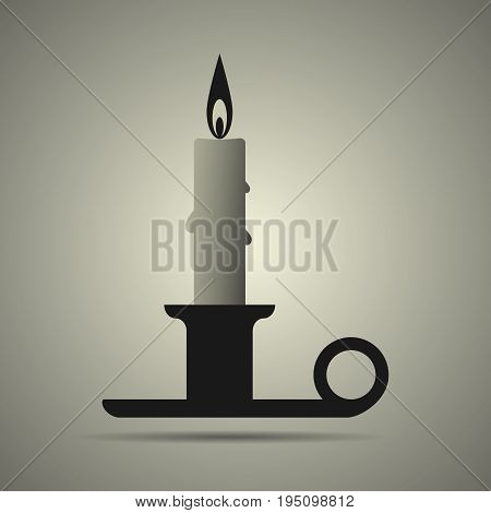 Candle and candlestick on holder flat style icon in black and white colors isolated