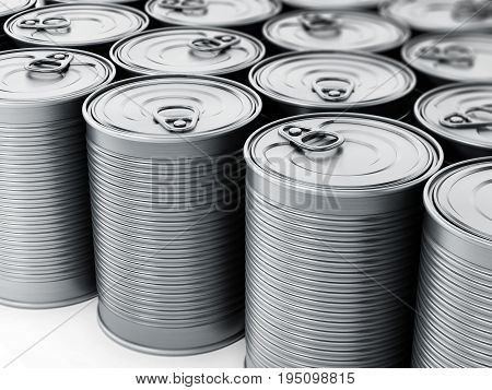 Stacked tin cans isolated on white background. 3D illustration.