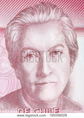 Gabriela Mistral portrait from Chilean money - Pesos
