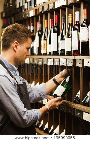 Thoughtful expert in winemaking on background of shelves with wine. Young sommelier holding bottle of wine in cellar, reading information on sticker about drink.