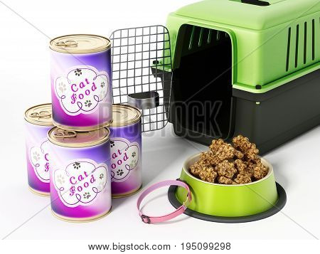 Cat collar carrier and food isolated on white background. 3D illustration.