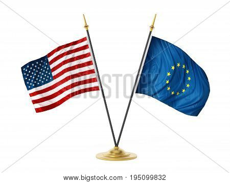 United States of America and European Union desktop flags. 3D illustration.
