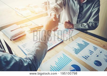 Business People Colleagues Shaking Hands Meting Planning Strategy Analysis  Concept