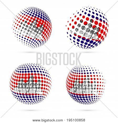 Cambodia Halftone Flag Set Patriotic Vector Design. 3D Halftone Sphere In Cambodia National Flag Col