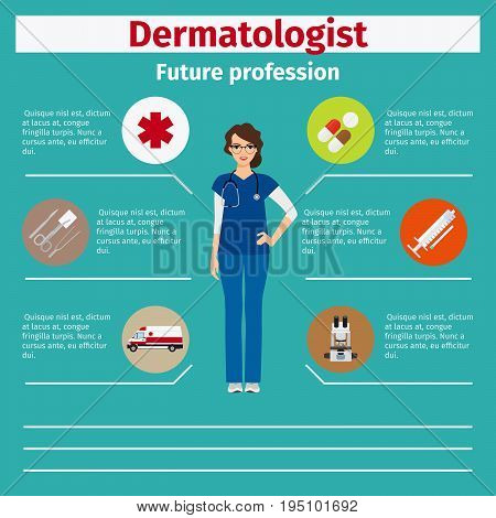 Future profession dermatologist infographic for students, vector illustration