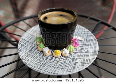 Hot Americano Coffee With Crema Top In A Classy Black Glass Surrounded Buy Colourful Classic Ice Gem