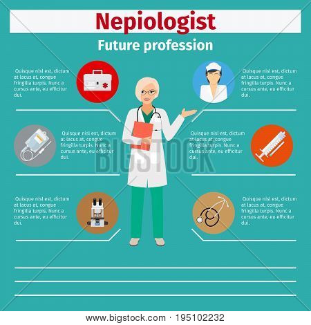 Future profession nepiologist infographic for students, vector illustration