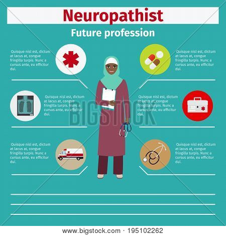 Future profession neuropathist infographic for students, vector illustration
