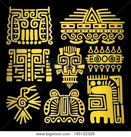 American golden ancient totems on black background, vector illustration