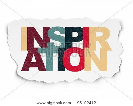 Marketing concept: Painted multicolor text Inspiration on Torn Paper background