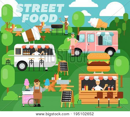 Street fast food festival poster. Culinary city event template for outdoor cafe service, takeaway food concept. Restaurant menu flyer, urban food fest announcement vector illustration in flat style.