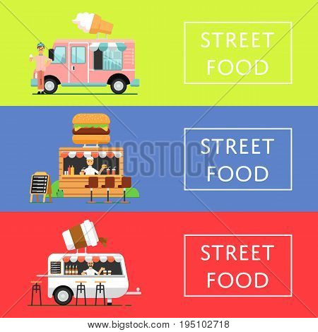 Street food festival flyers set in flat style. Culinary city event template with fast food truck and outdoor cafe, takeaway food service. Restaurant menu flyer, urban food fest vector illustration.