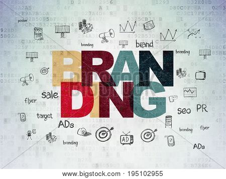 Advertising concept: Painted multicolor text Branding on Digital Data Paper background with  Hand Drawn Marketing Icons