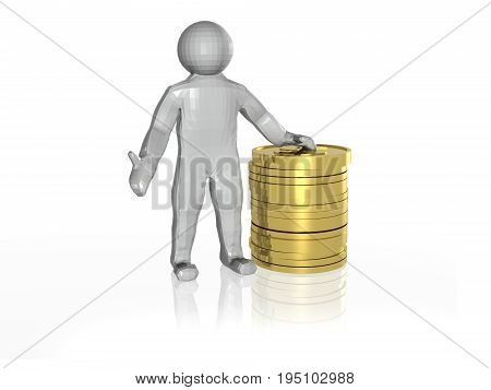 Man and money on white reflective background 3D illustration.