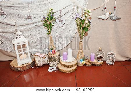 Fantastic Flower Compositions Laying On A Wedding Table.