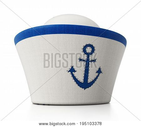 Sailor hat with anchor icon isolated on white background.