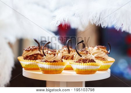 Wooden tray with tasty caramel vanilla freshly baked cupcakes with cream and chocolate decorations cafe eatery diner restaurant bakery confectionery.