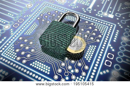 Malware Attack Concept Padlock With Money