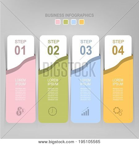 Infographic template of four steps on squares tag banner work sheet flat design of business icon vecto