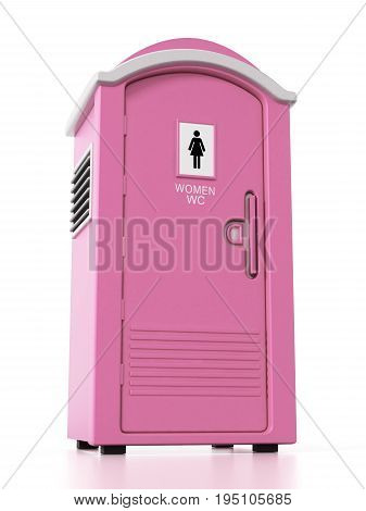 Portable pink women WC isolated on white background. 3D illustration