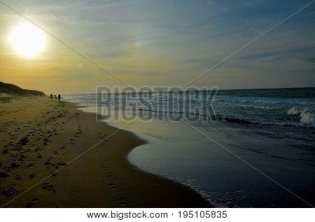 Northsea beach germany sunset very beautiful little blue