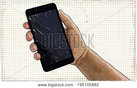 Illustration of Hand holding Smart Phone on Paper Background