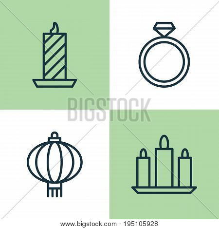 Happy Icons Set. Collection Of Traditional Lamp, Wax, Wedding Jewel And Other Elements. Also Includes Symbols Such As Wax, Candle, Lantern.
