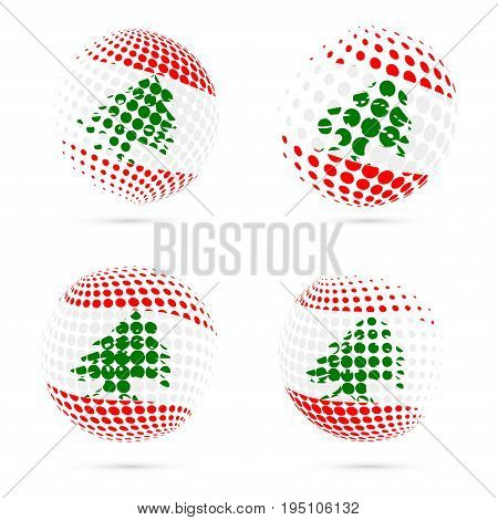 Lebanon Halftone Flag Set Patriotic Vector Design. 3D Halftone Sphere In Lebanon National Flag Color