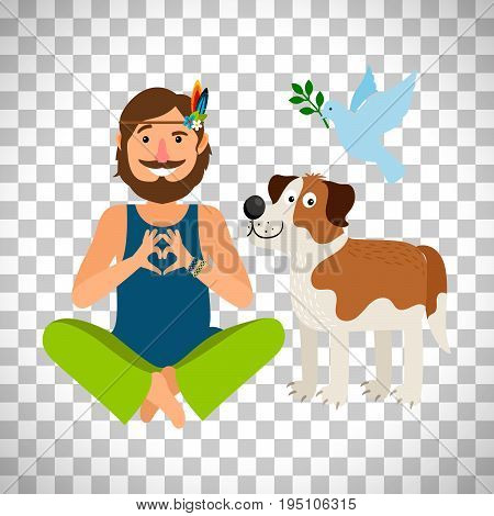 Hippie peace man with dog. Vector Illustration isolated on transparent background