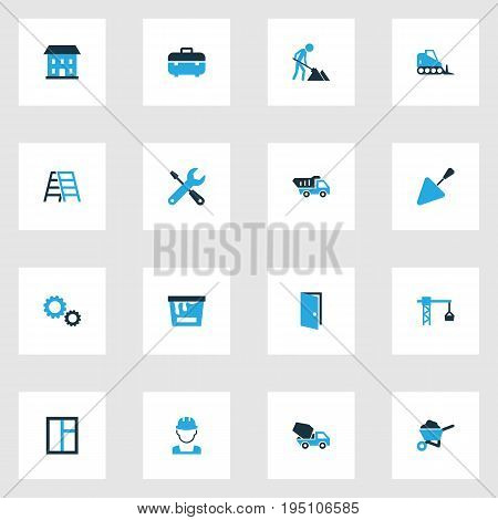 Architecture Colorful Icons Set. Collection Of Open, Screwdriver, Glass And Other Elements. Also Includes Symbols Such As Screwdriver, Pass, Window.
