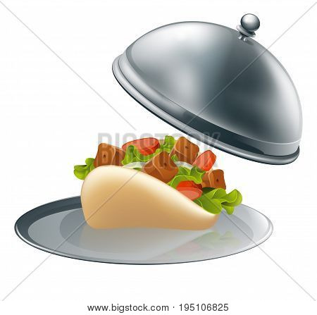 A souvlaki kebab in pita bread on a silver platter serving tray
