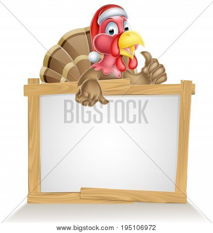Christmas sign with cartoon turkey bird wearing a red Santa Claus hat