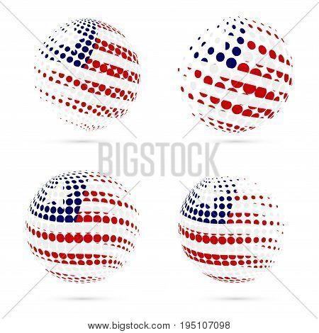 Liberia Halftone Flag Set Patriotic Vector Design. 3D Halftone Sphere In Liberia National Flag Color