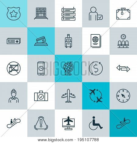 Travel Icons Set. Collection Of Siren, Cop Symbol, Luggage And Other Elements. Also Includes Symbols Such As Paralyzed, Room, Mobile.