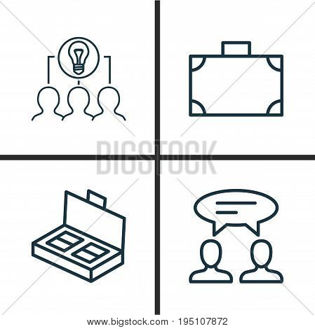 Management Icons Set. Collection Of Collaborative Solution, Dialogue, Portfolio And Other Elements. Also Includes Symbols Such As Collaboration, Business, Chat.