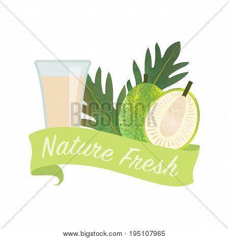 Colorful Watercolor Texture Vector Nature Organic Fresh Fruit Juice Banner Breadfruit