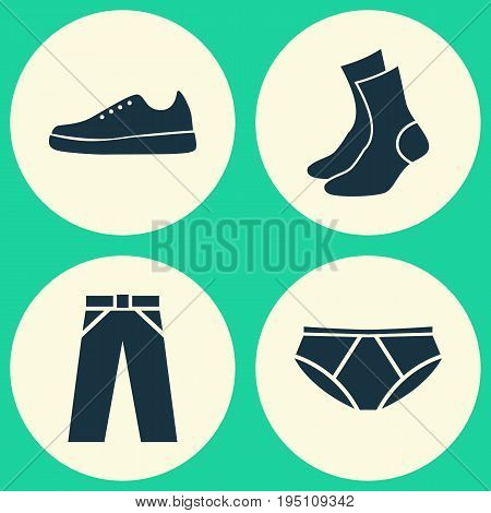 Garment Icons Set. Collection Of Sneakers, Half-Hose, Pants And Other Elements. Also Includes Symbols Such As Half-Hose, Shoes, Sneakers.