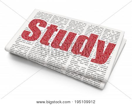 Studying concept: Pixelated red text Study on Newspaper background, 3D rendering