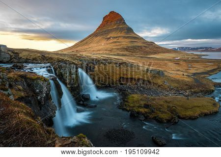 Kirkjufell is the most photographed mountain in Iceland located in the north coast of Iceland's Snaefellsnes peninsula, near the town of Grundarfjordur.
