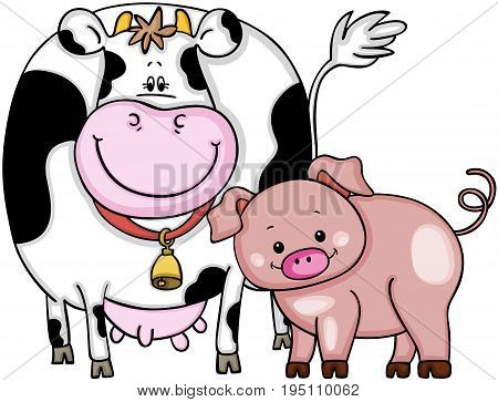 Scalable vectorial image representing a cow and pig, isolated on white.